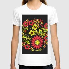 Black floral hohloma T-shirt
