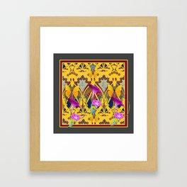 Charcoal Grey & Fuchsia Floral Yellow Butterflies Art Framed Art Print