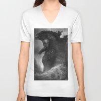 godzilla V-neck T-shirts featuring Godzilla by ffejeromdiks