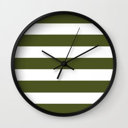 Army green - solid color - white stripes pattern Wall Clock