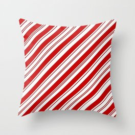 winter holiday xmas red white striped peppermint candy cane Throw Pillow