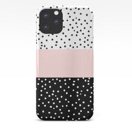 Pink white black watercolor polka dots iPhone Case