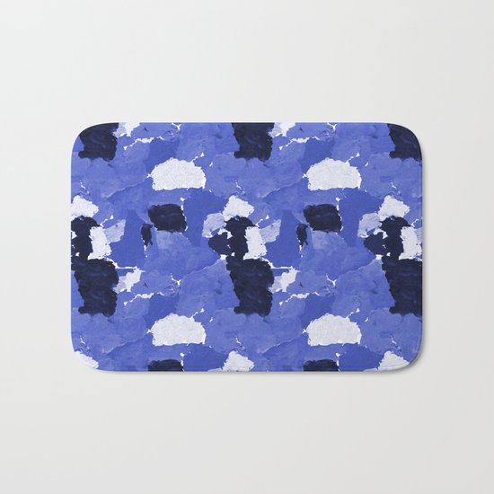 Kenni - abstract paint palette blue white navy bright modern gender neutral painting brushstrokes  Bath Mat