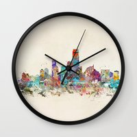 new jersey Wall Clocks featuring jersey city new jersey by bri.buckley