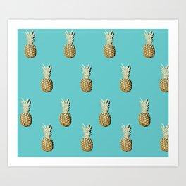 Pop art pineapples all over print Art Print