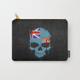 Flag of Fiji on a Chaotic Splatter Skull Carry-All Pouch