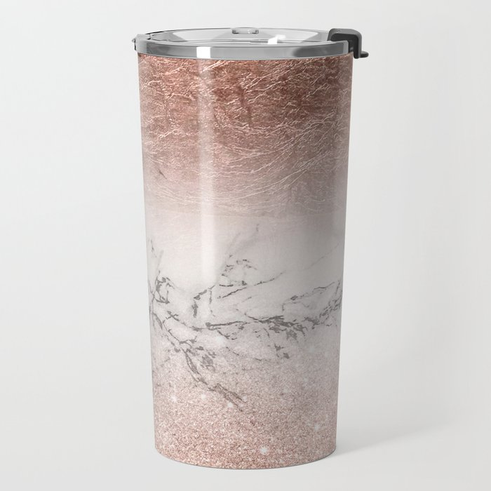 Modern faux rose gold glitter and foil ombre gradient on white marble color block Travel Mug