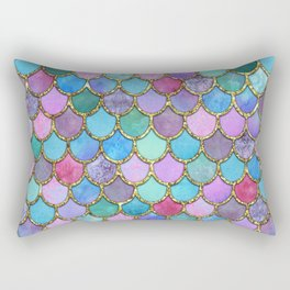 Colorful Gold Mermaid Scales Rectangular Pillow