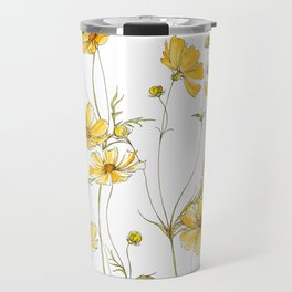 Yellow Cosmos Flowers Travel Mug