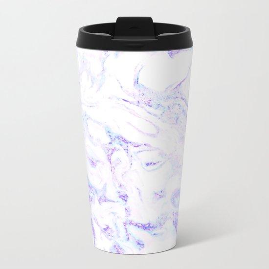 Pastel Marble Purple Blue Glitter Metal Travel Mug