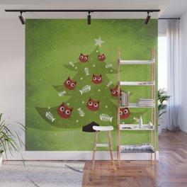 Cat Christmas Tree Wall Mural