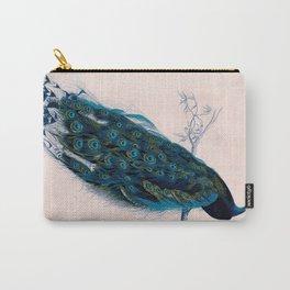 Vintage peacock bird print colorful feathers 1800s antique art nouveau deco nature book plate Carry-All Pouch
