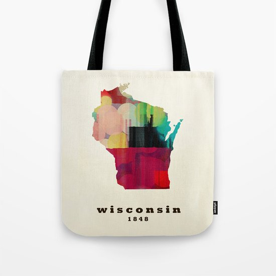 Wisconsin state map modern Tote Bag