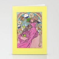 mucha Stationery Cards featuring Mucha Bubblegum by Joyia Kelly