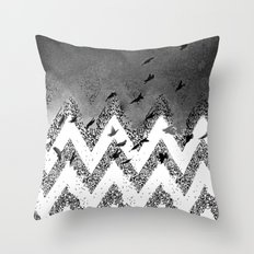 flying (black and white) Throw Pillow