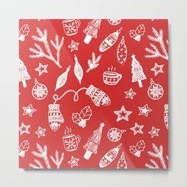 Christmas Decorations Holiday Set Metal Print