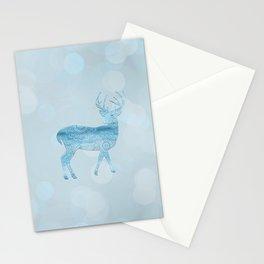 Aqua Blue Christmas Deer Stationery Cards