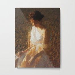 woman in a white dress Metal Print