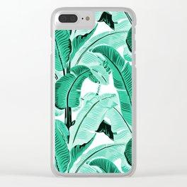 jungle leaf pattern mint Clear iPhone Case