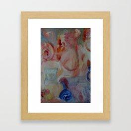 ultramarine, crimson, ochre abstract Framed Art Print