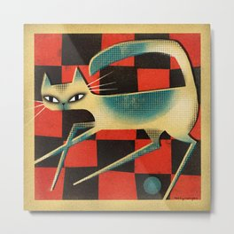 CHECKERBOARD CAT Metal Print