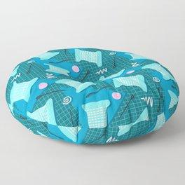 Memphis Sewing in Blue Floor Pillow