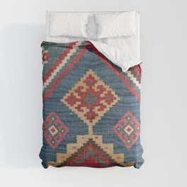 Vintage Woven Kilim // 19th Century Colorful Royal Blue Yellow Authentic Classic Ornate Accent Patte Comforters