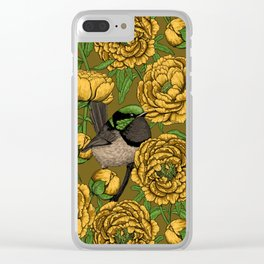 Peonies and wrens Clear iPhone Case