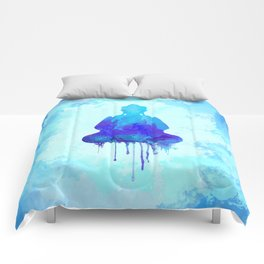 Watercolor zen Buddha blue Comforters
