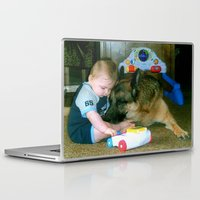 german shepherd Laptop & iPad Skins featuring German Shepherd Spit Shine by GermanShepherdCrazy
