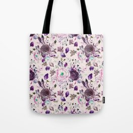 Country chic pink lavender violet watercolor floral Tote Bag