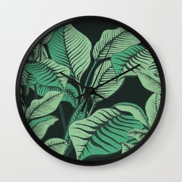Exotic Tropical Banana Palm Leaf Print Wall Clock