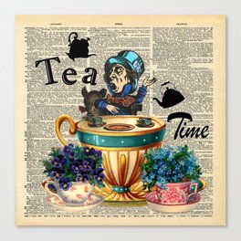 Tea Time - Alice In Wonderland - Vintage Dictionary Page Canvas Print
