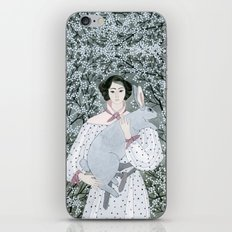Girl and rabbit among flowers iPhone & iPod Skin