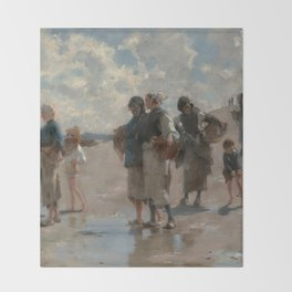 Fishing for Oysters at Cancale - John Sargent Throw Blanket