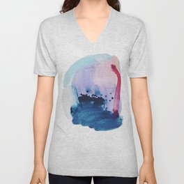 PYT: a minimal abstract mixed media piece on canvas in blues, pink, purple, and white Unisex V-Neck