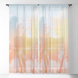 Tropicana seas - sundown Sheer Curtain