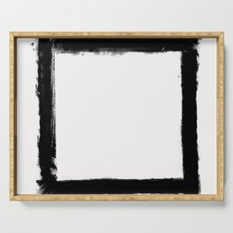 Square Strokes Black on White Serving Tray