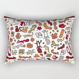 Squirrels in Fall Doodle Rectangular Pillow