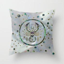 Scorpio Zodiac Gold Abalone on Constellation Throw Pillow
