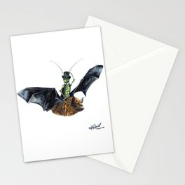 """ Rider in the Night "" happy cricket rides his pet bat Stationery Cards"
