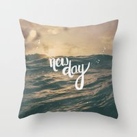 pocketfuel Throw Pillows featuring NEW DAY by Pocket Fuel