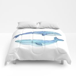 whale watercolor Comforters