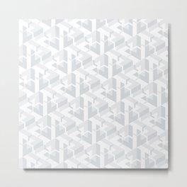 Triangle Optical Illusion Gray Light Metal Print