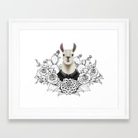 lama Framed Art Prints featuring Lama by Melanie Blanchard