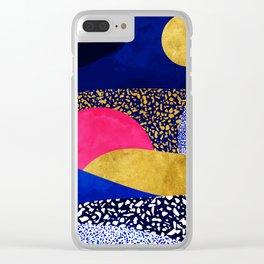Terrazzo galaxy blue night yellow gold pink Clear iPhone Case