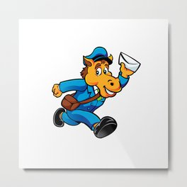 Horse postman character delivering mail Metal Print