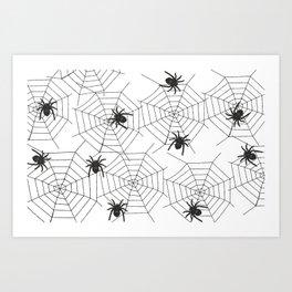 Black Spider Halloween web Art Print
