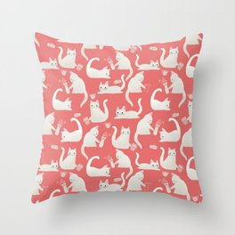 Bad White Cats Knocking Things Over Throw Pillow
