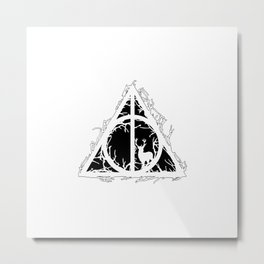 Deathly Hallows - brenches and stag - voids and silhouette (black) - Expecto Patronum   potterheads Metal Print